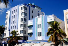 Miami Beach, Florida: Art Deco Hotels. A row of pastel-coloured art deco hotels dating to the 1930's on Collins Avenue in Miami Beach, Florida Stock Photography