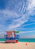 Miami Beach Florida, Art Deco lifegguard house. Painted as the American Flag. Miami Beach is famous travel destination for nightlife, beautiful beaches and Stock Photos