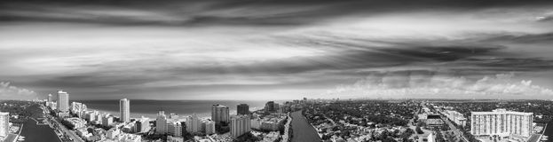 Miami Beach, Florida. Beautiful panoramic aerial view at sunset Stock Image