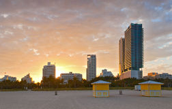 Miami Beach Florida, beautiful summer sunset at the beach Stock Photo