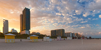 Miami Beach Florida, beautiful summer sunset at the beach Royalty Free Stock Photos