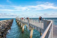 Miami Beach, Florida. December 7, 2017: Miami Beach, Florida: Beautiful boardwalk and ocean view of Miami Beach. Miami Beach has a population of 87,000 Royalty Free Stock Photography