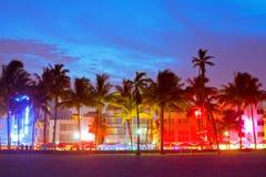 Miami Beach, Florida hotell och restauranger på solnedgången Arkivfoto