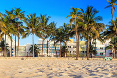 Miami Beach, Florida hotels and restaurants at twilight on Ocean Royalty Free Stock Images