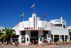 Miami Beach, Florida: Jerry's Famous Deli. Jerry's Famous Deli on Collins Avenue is one of the many unique and handsome art deco buildings in the Miami Beach Stock Images