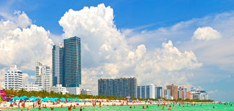 Miami Beach, Florida. July 23, 2015: Miami Beach is world famous for beautiful beaches, hotels, restaurants and nightlife Royalty Free Stock Images