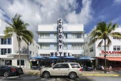 Miami Beach, Ocean Drive art deco Colony hotel royalty free stock image