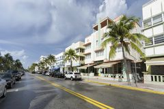 Famous art deco district of Ocean Drive in South Beach Miami, USA Stock Photos