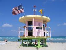 Miami Beach Florida Life Guard. Flags Royalty Free Stock Photo