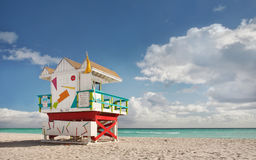 Miami Beach Florida, lifeguard house Royalty Free Stock Photos