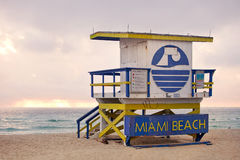 Miami Beach Florida, lifeguard house Royalty Free Stock Images
