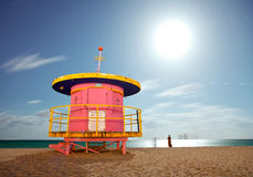 Miami Beach Florida lifeguard house at night Royalty Free Stock Image