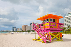 Miami Beach Florida, lifeguard house. In typical art deco colorful style Royalty Free Stock Image