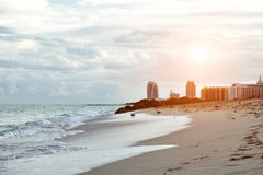 Miami Beach in Florida with luxury apartments and waterway.  Stock Images