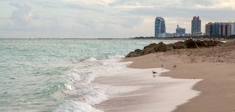 Miami Beach in Florida with luxury apartments and waterway.  Royalty Free Stock Photos