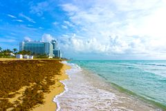 Miami Beach in Florida with luxury apartments and waterway. Miami Beach in Florida with luxury apartments and wrack near waterway Stock Image
