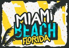 Miami Beach Florida Summer Poster Design With Palm Leaves Illustration. Vector Graphic Stock Photo