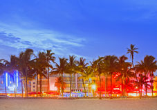 Miami Beach Florida. Sunset over illuminated skyline of hotels and restaurants in art deco style Royalty Free Stock Photography