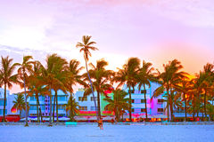 Miami Beach, Florida. USA-August 16, 2013:Illuminated hotels and restaurants at sunset on Ocean Drive, world famous destination for nightlife, beautiful weather Stock Photo