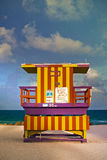 Miami Beach Florida. USA famous tropical travel location, typical Art Deco lifeguard house on a beautiful summer afternoon with ocean and blue sky, Instagram Royalty Free Stock Image