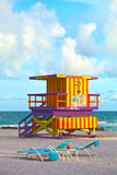 Miami Beach Florida, USA. Famous tropical travel location, typical Art Deco lifeguard house on a beautiful summer afternoon with ocean and blue sky Stock Image