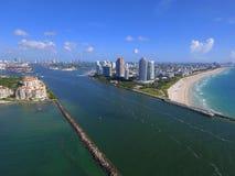 Miami Beach flyg- surrfoto Arkivbild