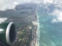 Miami Beach från himlen Arkivbilder