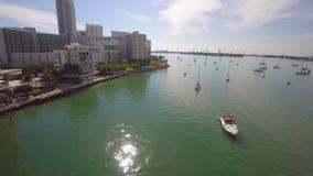 Miami Beach-Gebäude auf dem Antennenvideo der Bucht 4k stock video footage