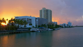 Miami beach gulf living block sunset sky panorama 4k usa. Usa miami beach gulf living block sunset sky panorama 4k stock video