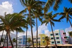 Miami Beach havboulevard Art Deco Florida fotografering för bildbyråer