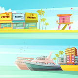 Miami Beach Horizontal Banners. In cartoon style with sandy shore seagulls yachts hotels  flat vector illustration Royalty Free Stock Photos