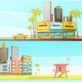 Miami Beach Horizontal Banners. In cartoon style with sea shore barber bakery cafe lifeguard cabin flat vector illustration Stock Images