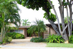 Miami beach house with drive way Royalty Free Stock Photos