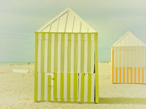 Miami Beach Hut. South Beach Miami and the huts that are used for storage. Captured on a very warm summers morning and contracting with the white sands of the Royalty Free Stock Image