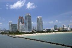Miami Beach i Florida miami, florida som är kust-, kust, ö, fritid, lägenheter som är tropiska, lopp, strand, destinationer, så Arkivfoto