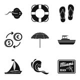Miami beach icons set, simple style Stock Photos