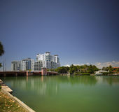 Miami Beach Indian Creek with view of condominiums Royalty Free Stock Photo