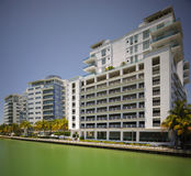 Miami Beach Indian Creek with view of condominiums Royalty Free Stock Images