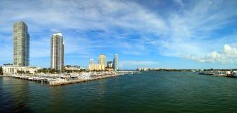 Miami Beach Inter Coastal Waterway. Panoramic view of the Miami Beach inter coastal Waterway from the MacArthur Causeway bridge with condos, marina and Fisher Royalty Free Stock Image