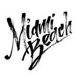 Miami Beach Iscrizione moderna della mano di calligrafia per la stampa di serigrafia Immagini Stock