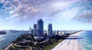 Miami Beach kustlinje Flyg- sikt som sett från den södra Pointe medeltalen Arkivbilder