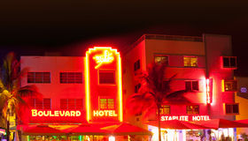 Miami Beach la nuit Photographie stock libre de droits