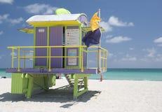 Miami beach life guard hut. Colourful miami beach life guard hut, usa stock photos