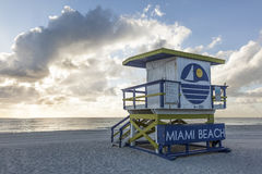 Miami Beach life guard tower. Art Deco life guard tower at the Miami South Beach. Florida, United States Royalty Free Stock Images
