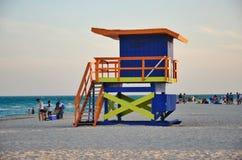Miami beach. The lifeguard booths on miami beach royalty free stock image