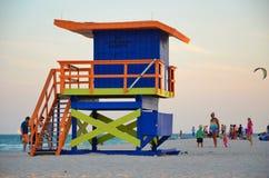 Miami beach. The lifeguard booths on miami beach stock photos
