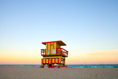 Miami Beach lifeguard house in Art Deco style Royalty Free Stock Photos