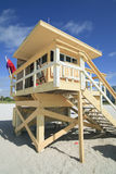 Miami Beach Lifeguard Hut. Portrait image of a colorful lifeguard hut/station in Miami Beach stock photo