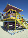 Miami Beach Lifeguard Hut. Portrait image of a colorful lifeguard hut/station in Miami Beach royalty free stock photos