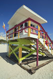 Miami Beach Lifeguard Hut. Portrait image of a colorful lifeguard hut/station in Miami Beach royalty free stock images
